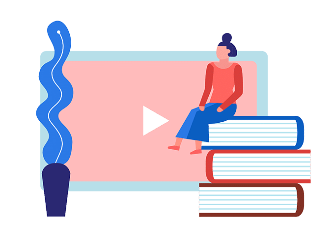 about learning inclusion : an illustration of a lady sitting on tops of three books infront of a digital screen