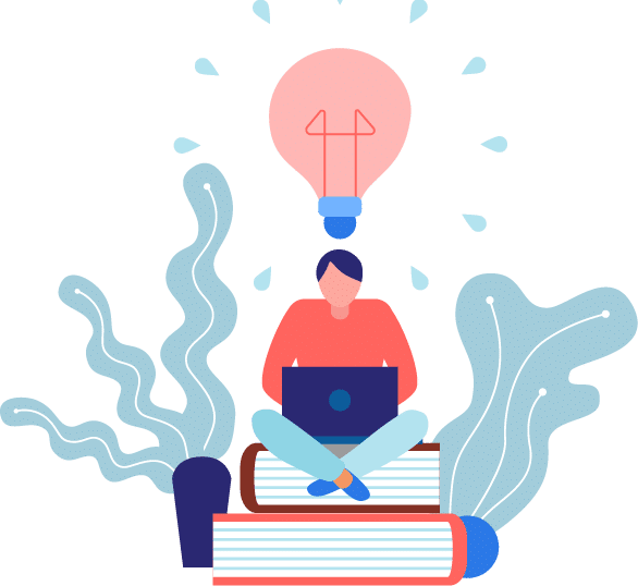 image for all courses. a person is sitting on top of two books and using a laptop.